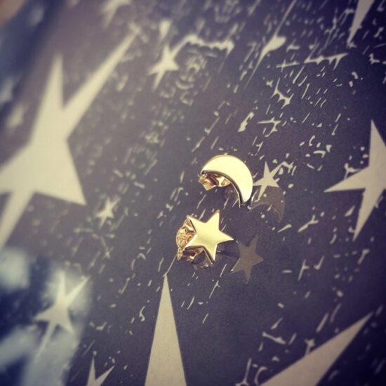 Cercei aur stea si luna